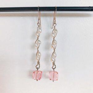 Pearl Chain Earrings w Pink Austrian Crystal Drop